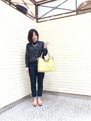 岡山天満屋bijiness by SAZABY|イワサさんの「【Oggi掲載】レザ-バッグWCN12307(SAZABY|サザビー)」を使ったコーディネート