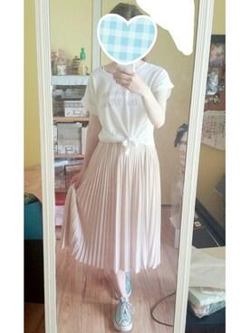 Mariiieさんの「(スカート) ひざ丈シフォンプリーツスカート(夢展望)」を使ったコーディネート