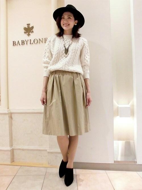BABYLONE 札幌店さんの「ギャザーミディスカート(BABYLONE)」を使ったコーディネート
