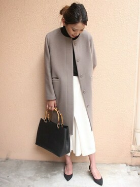 Spick and Span Noble新宿ルミネ店 rikaさんの「≪予約≫Wシャドーボーダーノーカラーコート◆(Spick and Span Noble)」を使ったコーディネート