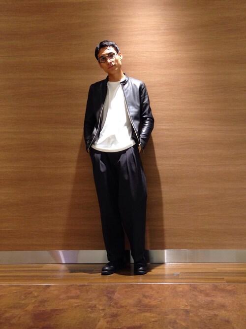 井之元智之さんのライダースジャケット「ラムレザーシングルライダース(UNITED TOKYO ユナイテッドトウキョウ)」を使ったコーディネート