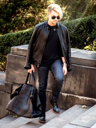 「Andrew Marc Luxe Leather Moto Jacket, Black(Andrew Marc New York)」 using this Ian Michael Crumm looks