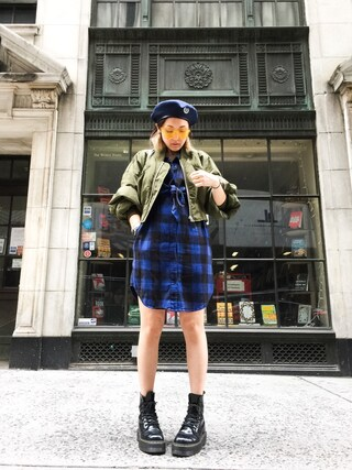 「Raw flannel dress(CHEAP MONDAY)」 using this mayu looks