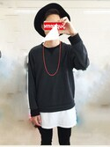 「ASOS BRAND ASOS Super Longline T-Shirt With Scoop Neck And Relaxed Skater Fit(Asos)」 using this カケル looks