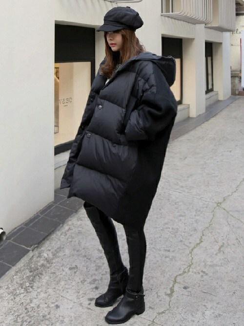11AMさんの「オーバーサイズグースダウンミックスジャケット」を使ったコーディネート