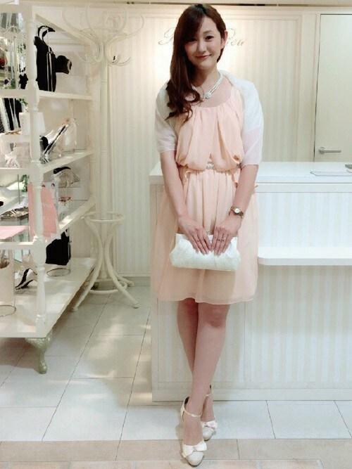結婚式 二次会 服装 ドレス ピンク| staffさんのドレス「Rew de Rew ノースリーブドレープドレス(4R04-D001G)」を使ったコーディネート