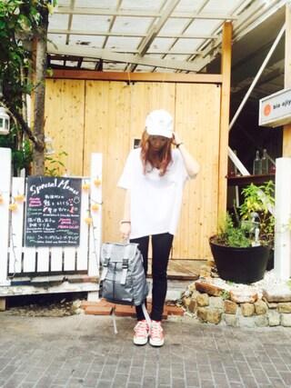 MILKFED. AT HEAVEN27ラフォーレ原宿|田代綾美さんの「EMBROIDERED BASEBALL CAP(キャップ/帽子)(MILKFED.|ミルクフェド)」を使ったコーディネート