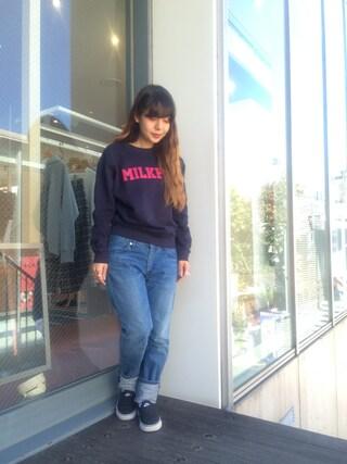 MILKFED. AT HEAVEN27ラフォーレ原宿|田代綾美さんの「BOYFRIEND DENIM PANTS(MILKFED.|ミルクフェド)」を使ったコーディネート