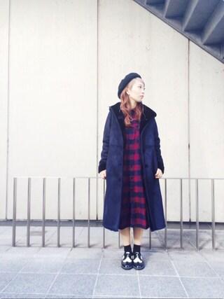 MILKFED. AT HEAVEN27ラフォーレ原宿|田代綾美さんの「FAUX SHERLING HOODED COAT(ファー/ロングコート)(MILKFED.|ミルクフェド)」を使ったコーディネート