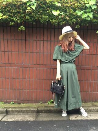 MILKFED. AT HEAVEN27ラフォーレ原宿|田代綾美さんの「RIBBON STRAW HAT(ストローハット/リボン/モチーフ)(MILKFED.|ミルクフェド)」を使ったコーディネート