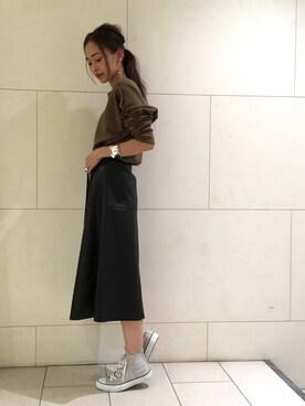 MAISON DE REEFUR 代官山|SAKI TAKAYAMAさんの「ラム レザー ラップ スカート(MAISON DE REEFUR)」を使ったコーディネート