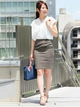 ASTORIA ODIER 新宿店|Neneさんの「☆人気NO1シルエット☆(日本製)機能素材タイトスカート(TRUDEA)」を使ったコーディネート