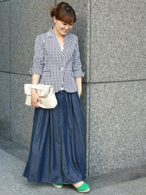 必見!「ロングのデニムスカート」を使ったコーデが可愛い!|