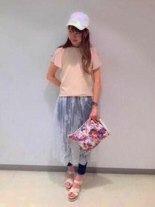 Heather 渋谷パルコ店|Heather 渋谷パルコ店 STAFFさんの「ジャガードロゴフレアT 724025(Heather|ヘザー)」を使ったコーディネート