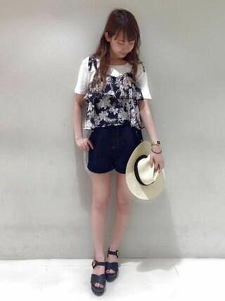Heather 渋谷パルコ店|Heather 渋谷パルコ店 STAFFさんの「ボタニカルフラワーオーバーキャミ 724311(Heather|ヘザー)」を使ったコーディネート