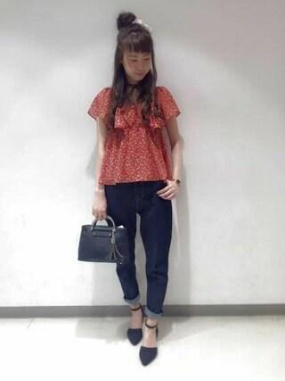 Heather 渋谷パルコ店|Heather 渋谷パルコ店 STAFFさんの「コバナフリルブラウス 725826(Heather|ヘザー)」を使ったコーディネート