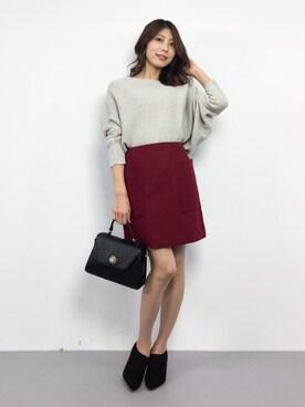 ZOZOTOWN|吉岡由梨子さんの「《追加》ブレンドビーバー台形スカート◆(IENA|イエナ)」を使ったコーディネート