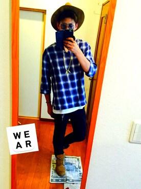 ✂︎たなかいとん✂︎さんの「WEGO/オンブレ7分袖プルオーバーシャツ(WEGO)」を使ったコーディネート