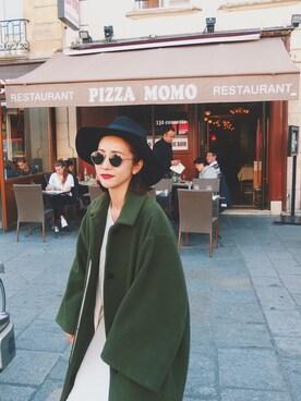 荻原桃子さんの「【FEMININE】モッサウールステンカラーコート(MURUA)」を使ったコーディネート