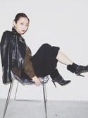 「Valentino Rockstud Leather T-Strap Pump, Black(Valentino)」 using this 荻原桃子 looks