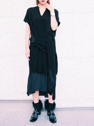 荻原桃子さんの「SASH DRAPE DRESS」を使ったコーディネート