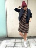 石川 瑠利子さんの「CABLE KNIT CAP(ニットキャップ/ビーニー/ケーブル)(MILKFED.|ミルクフェド)」を使ったコーディネート