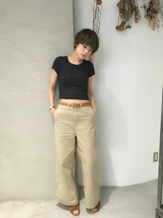 石川 瑠利子さんの「(GU)チノクロップドワイドパンツ(GU|ジーユー)」を使ったコーディネート