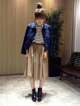 N. Natural Beauty Basic* OFFICE|fuji*さんの「タイプライターフレアスカートⅡ(N. Natural Beauty Basic)」を使ったコーディネート