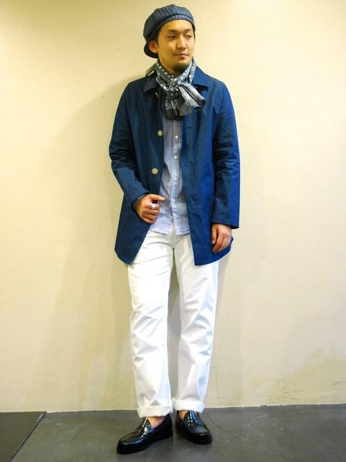 マリンコーデメンズのシャツ・ブラウス「URBAN RESEARCH DOORS MENS DOORS Semi Wide Collar Shirts」を使ったコーディネート