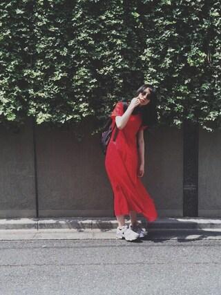 小谷実由さんの「DOORS リネンタックフレアマキシワンピース(URBAN RESEARCH DOORS WOMENS|アーバンリサーチ ドアーズ ウィメンズ)」を使ったコーディネート