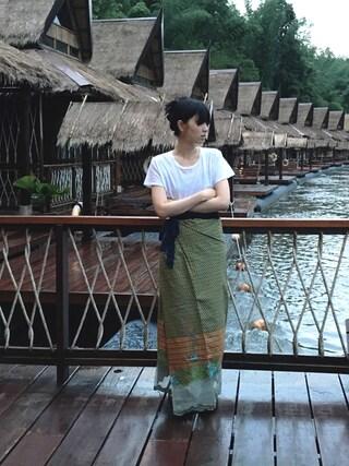 小谷実由さんの「EMODA×Hanes Tシャツパック(EMODA|エモダ)」を使ったコーディネート