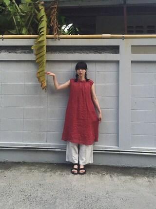 小谷実由さんの「RAMIE GAUZE ハイネックワンピース(I am I in fact...|アイアムアイ インファクト)」を使ったコーディネート