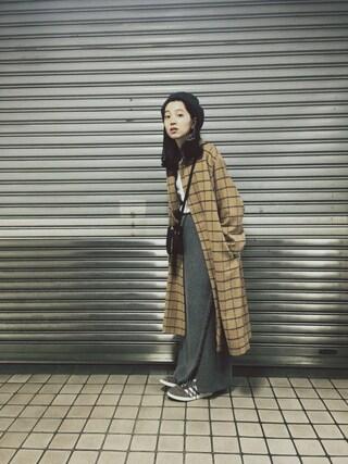 小谷実由さんの「KBF ニットラップスカート(KBF|ケイビーエフ)」を使ったコーディネート