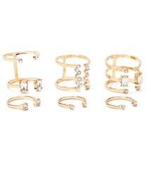 Forever 21「FOREVER 21 Cutout Rhinestone Ring Set(Ring)」