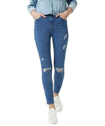 Topshop「Topshop Moto 'Jamie' Ripped Skinny Jeans (Mid Denim) (Tall)(Denim pants)」