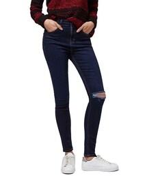 Topshop「Topshop Moto 'Jamie' Ripped Skinny Jeans (Navy Blue)(Denim pants)」