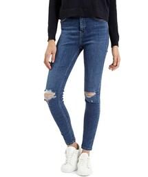 Topshop「Topshop Moto 'Jamie' Ripped Ankle Jeans (Mid Denim) (Regular & Short)(Denim pants)」