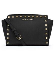 MICHAEL Michael Kors「MICHAEL Michael Kors Selma Stud Medium Zip Satchel Bag, Black(Shoulderbag)」