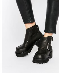 Unif「UNIF Crank Buckle Cleat Ankle Boots(Boots)」