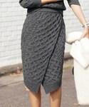 DHOLIC | ケーブルニットラップミディスカート(スカート)