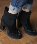 DHOLIC | スエード調ニットアンクルブーツ(ブーツ)