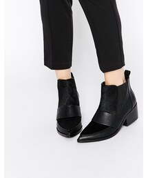 Asos「ASOS COLLECTION ASOS RUN AWAY Leather Mix Pointed Chelsea Ankle Boots(Boots)」