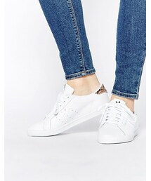 adidas「adidas Originals White Miss Stan With Leopard Print Back Trainers(Sneakers)」