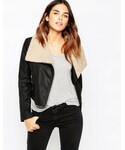 Asos「ASOS COLLECTION ASOS Biker Jacket with Borg Waterfall(Riders jacket)」