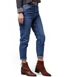 Topshop「Topshop Moto High Rise Crop Jeans (Dark Denim) (Petite)(Denim pants)」