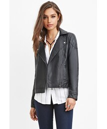 Forever 21「FOREVER 21 Quilted Faux Leather Moto Jacket(Riders jacket)」