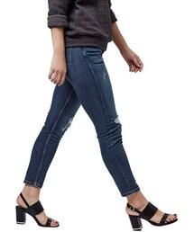 Topshop「Topshop Moto 'Lucas' Slim Shredded Crop Jeans (Mid Denim) (Petite)(Denim pants)」
