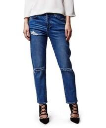 Topshop「Topshop Moto Ripped Girlfriend Jeans (Blue)(Denim pants)」