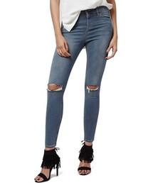 Topshop「Topshop 'Jamie' Ripped Crop Skinny Jeans (Grey) (Petite)(Denim pants)」