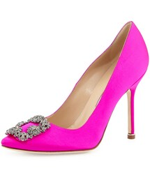 Manolo Blahnik「Manolo Blahnik Hangisi Crystal-Buckle Satin Pump (Pink), Women's(Pumps)」